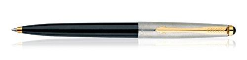 Bolígrafo de punta redonda estándar dorado Galaxy, de Parker (tinta azul, cuerpo negro)