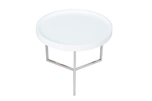DuNord Design Couchtisch 60 cm weiß rund modern inkl. Tablett Beistelltisch Holztisch Tisch