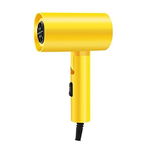 Secador de pelo plegable con martillo para hotel, dormitorio para estudiantes, secador de pelo de alta potencia de iones negativos, ligero, con 3 ajustes de calor, secador de pelo - Amarillo 115x220Mm