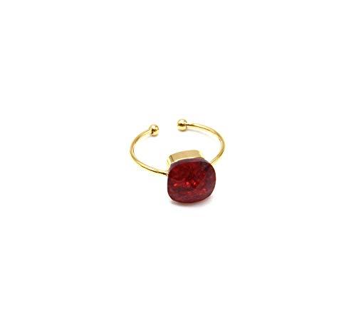 Oh My Shop BG399F – offener Ring, Stahl, vergoldet, quadratischer Stein aus Bordeauxglas