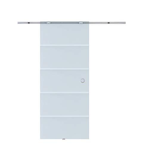 HOMCOM Glasschiebetür Schiebetür Glastür Zimmertür teilsatiniert 775/900 / 1025 x 2050 mm