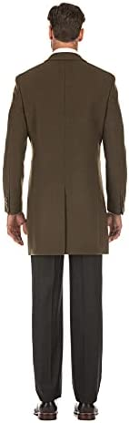 English Laundry Men's Wool Blend Breasted Solid Olive 3/4 Length Top Coat (44 Short)