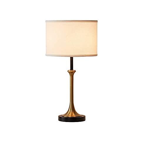 HJUYV-ERT Lámpara de mesita de Noche, lámpara de Mesa de Metal, Pantalla de Tela Blanca, portalámparas E27, Utilizado en Dormitorio, Sala de Estar, Sala de Estudio, 56 cm