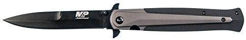 Smith & Wesson Unisex– Erwachsene, Taschenmesser, MP301 M&P Dagger Nylon, Klinge: 9.5 cm, schwarz, Klappmesser, Extended Tang, Daumen Pin, Taschenclip, Mehrfarbig, 21,5 cm