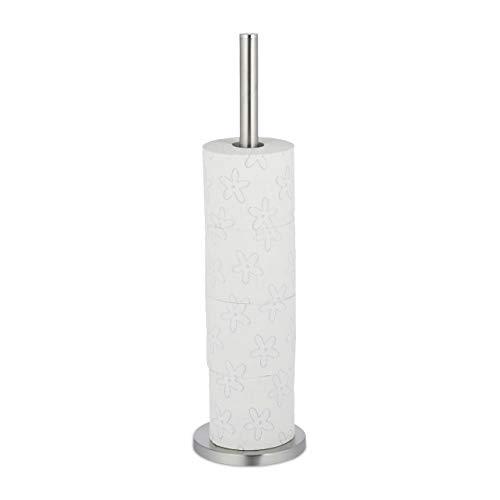 Relaxdays Toilettenpapier Aufbewahrung, 5 Rollen Klopapier, stehend, Metall, Ersatzrollenhalter HxD: 55 x 15 cm, Silber, 1 Stück