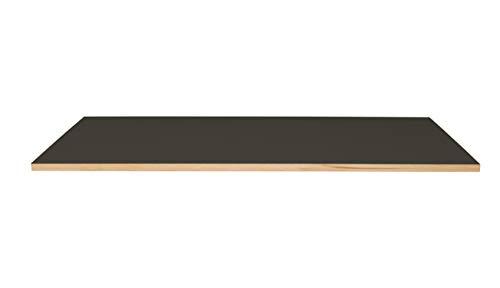 Kuhl Möbelwerkstatt Tischplatte mit Linoleum, 180 x 80 cm, je nach Plattenausführung 2 oder 3 cm dick, in 5 verschiedenen Linoleumfarben (Charcoal, Tischlerplatte 28 mm, gerade Kante Eiche)