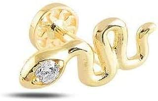 Piercing en forme de serpent en or massif 14 carats, piercing tragus minimaliste, piercing d'oreille à tige en forme de se...
