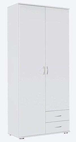 Kleiderschrank weiß 2 Türen B 85 cm / H 188 cm Schrank Drehtürenschrank Wäscheschrank Kinderzimmer Jugendzimmer Schlafzimmer