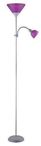 Stehleuchte in silber lila 1x E27E14 bis zu 25100 Watt 230V Kabelschalter aus Metall Schlafzimmer Wohnzimmer Lampe Leuchten innen Beleuchtung