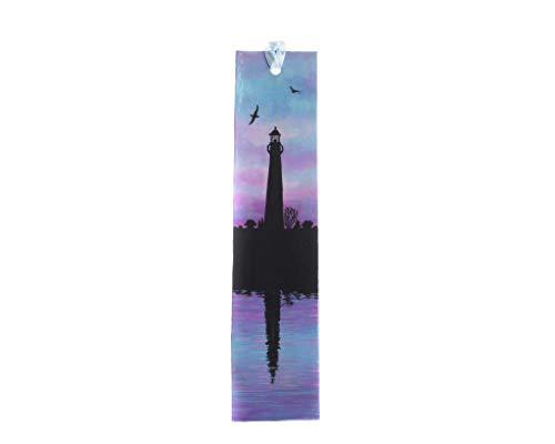 Papier Lesezeichen beidseitig bemalt mit einem Leuchtturm und einem Segelboot