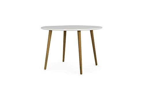 Tenzo 1685-001 Dot Designer Table de Salle à Manger Ronde Ø 110 cm, Blanc/Chêne, Plateau Panneaux MDF ép. 25 mm laqués. Pieds Massif huilé, 75 (H x Ø)