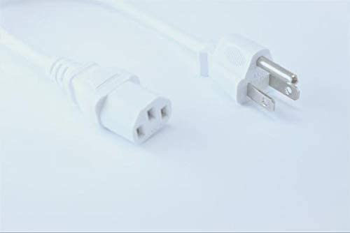 [UL Listed] OMNIHIL White 8 Feet Long AC Power Cord Compatible with VANKYO Leisure 510 Projector