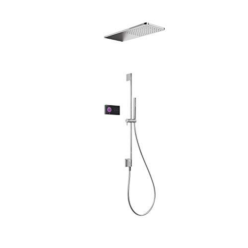 Shower Technology 09288582 Elektronisches Thermostat-Dusch-Set, 2-Wege-Duschkopf aus Edelstahl, Schiebestange, 55 x 21 x 82 cm, Chrom