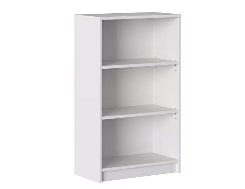 Iconico Home MIK Libreria a 3 Ripiani, Regolabili, Truciolato, Bianco, 60x30xh99,5 cm