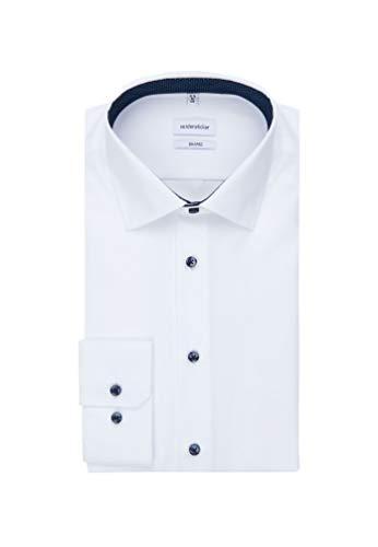 Seidensticker Herren Business Hemd Shaped Fit Businesshemd, Weiß (Weiß 01), (Herstellergröße: 41)