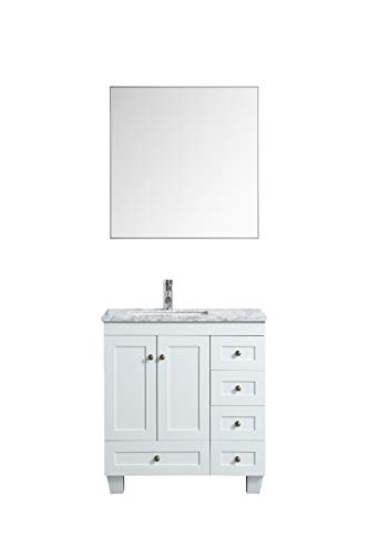 Eviva Happy 30 inch x 18 inch White Transitional Bathroom Vanity with White Carrara Marble Countertop and Undermount Porcelain Sink