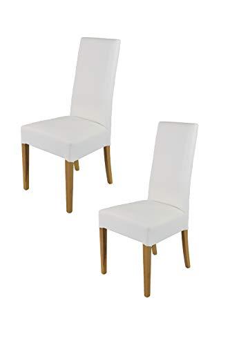 Tommychairs - Set 2 sillas Luisa para Cocina, Comedor, Bar y Restaurante, solida Estructura en Madera de Haya Color Roble y Asiento tapizado en Polipiel Blanco