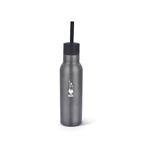 Bialetti To Go Bottiglia Termica (con Doppia Parete), Mantiene Il Caldo per 12 h e Il Freddo per 24 h, capacità 500 ml, Acciaio, Dark Grey, Grigio Scuro