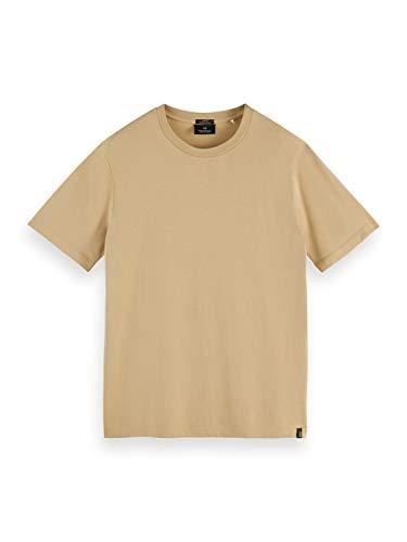 Scotch & Soda Herren Klassisches Rundhalsausschnitt aus Bio-Baumwolle T-Shirt, 0137 Sand, L