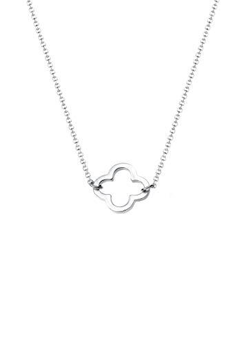 Elli Halskette Damen Kleeblatt Glücksbringer in 925 Sterling Silber vergoldet 40 cm