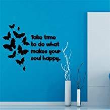 Pegatinas de pared de vinilo con citas de vida y mariposas familiares toman tiempo para hacer lo que hace a tu alma feliz decoración del hogar