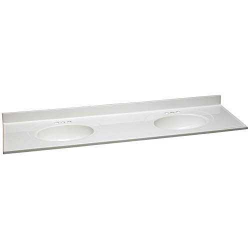 Design House 597468 19x17 Cultured Marble Single Bowl Vanity Top with Integrated Backsplash 4-in Centerset, Standard Packaging, Solid White