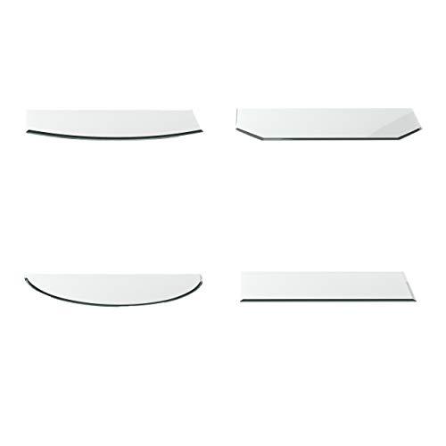Glasplatte Vorlegeplatte Segmentbogen G30 T: 500 mm x B: 1000 mm x H: 6 mm Esg 18mm Facette Feuerglas/Glutglas/Glas für Kamin