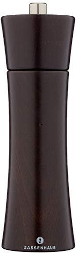 Zassenhaus Pfeffermühle Frankfurt 18 cm, Buche dunkelbraun mit stufenlos verstellbarem Hochleistungs-Keramikmahlwerk, befüllt
