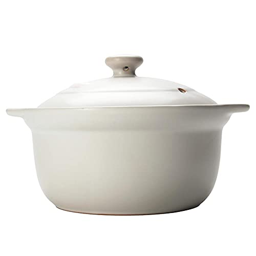 Cazuela Olla De Sopa Potera De Gachas De CeráMica Pote De Sopa Pote De Sopa De Alta Temperatura Resistente A La Planta Ancha Boca De Sopa Blanco-2.5L