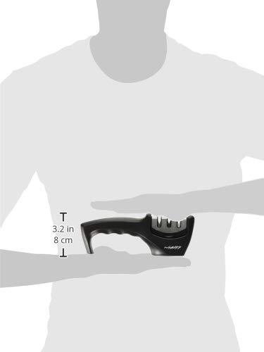 PreciSHARP 3 Stage Knife System to Sharpen Straight & Ceramic Kitchen Tools, Standard, Black