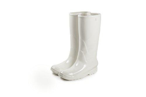 SELETTI – 36 cm de Haut en Porcelaine Bottes de Pluie Parapluie Support, Blanc