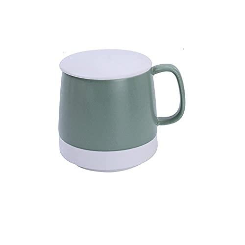 CGDX Juego de tazas de café de porcelana, tazas grandes de café y cereales, tazas de cerámica con asa para hombres, mujeres, regalo de San Valentín, multicolor, verde, A