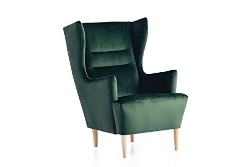 Traumnacht Ohrensessel Lukas, bequemer und moderner Relaxsessel für Wohnzimmer und Esszimmer, grün (samt)