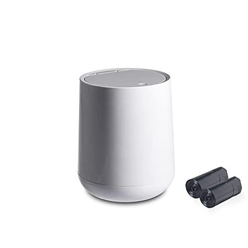 AnyCar Papelera de escritorio de plástico de 4 litros con tapa, papelera de escritorio para el hogar, oficina, cocina, limpieza de basura con 2 rollos de bolsa de basura (gris)