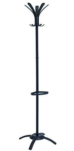 ALBA Perchero 5 Ganchos, Acero Inoxidable, Negro, 175x50x50 cm