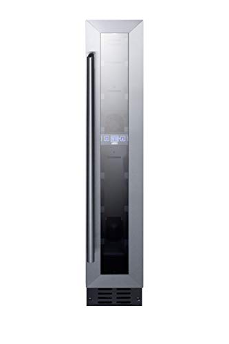 """Summit Appliance SWC007 Commercial 6"""" Wide ADA Compliant Built-in Undercounter Wine Cellar with 7 Bbottle Capacity, Glass Door, Black Cabinet, Auto Defrost, Digital Thermostat and LED Lighting"""