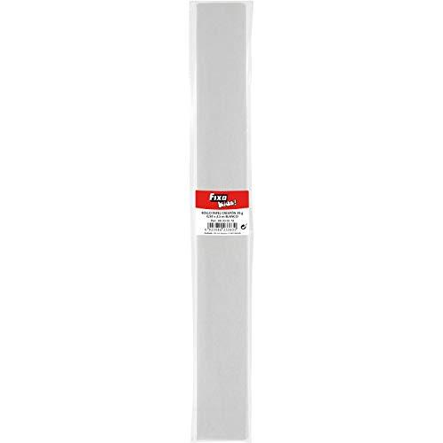 Fixo Kids 68000570. Rollo de Papel Crespón, Color Blanco, 0,50x2,5 Metros, Perfecto para Manualidades