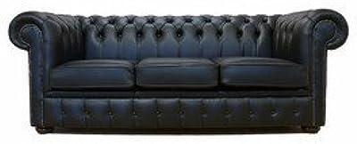 Designer Sofas4u Chesterfield 3plazas Cuero Negro sofá Oferta