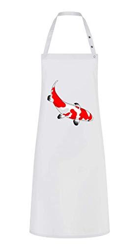 Delantal de cocina – pescado Koi rojo blanco – Delantal unisex para hombre y mujer, algodón, Blanco, talla única