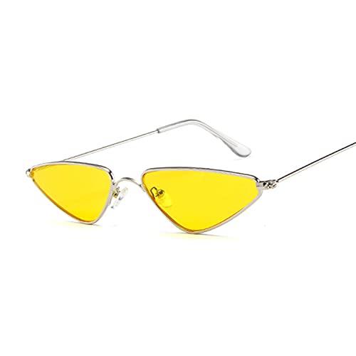 Hanpiyignstyj Gafas De Sol, Lindo Gato Ojo Gafas de Sol señora Retro pequeño Negro Rojo Rosa Ojo Ojo Gafas de Sol Hembra Retro Color número Dama (Lenses Color : Silver Yellow)