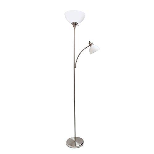 Simple Designs Home LF2000-BSN Simple Designs, Brushed Nickel Floor Lamp with Reading Light
