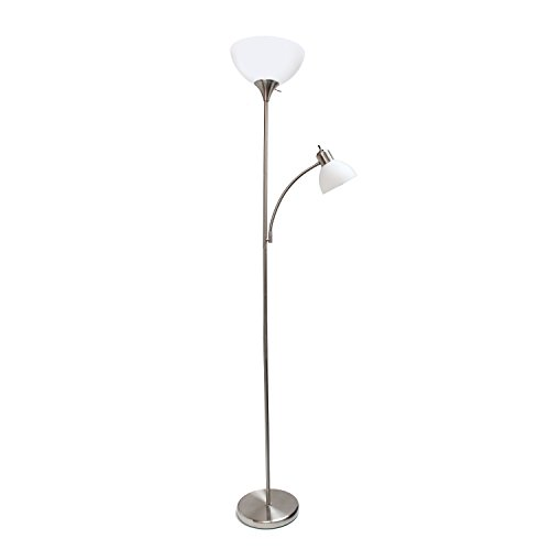 Simple Designs Home LF2000-BSN Simple Designs, Brushed Nickel Floor Lamp with Reading Light