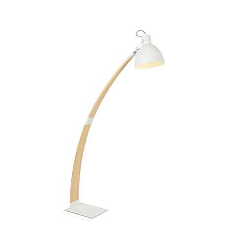 Nordic E27 Madera maciza Sofá vertical nórdico Lámpara de pie Economía doméstica creativa Caballete de hierro Lámpara de encuesta Blanco 0713P Estilo moderno Decoración del hogar LAMP-43838Y2T2X Luz d