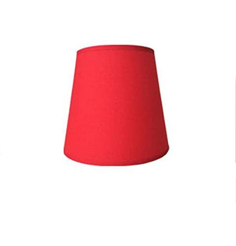 C-J-H Pantalla de Mesa pequeña o Pantalla de Pared con un diámetro de 15 cm, E14,Bright Red Linen