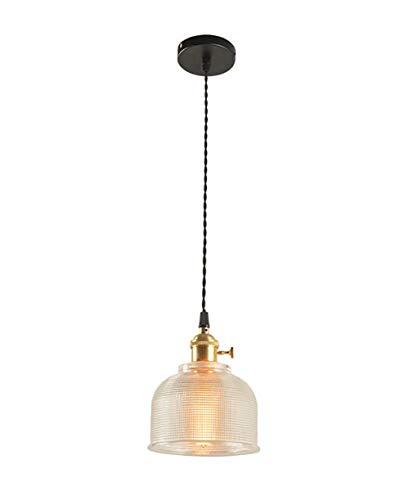 Dmxydd Mini iluminación Industrial Colgante con Pantalla de Cristal, lámpara de Cocina Edison Farmhouse Ajustable para Isla de Cocina, restaurantes, hoteles y Tiendas, Paquete de 1