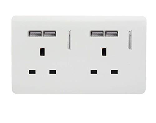 Trendi - Presa tattile con interruttore USB, 13 Amp, 4 x 2,1 mA con interruttore USB, colore: Bianco