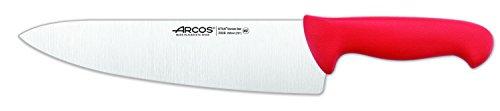 Arcos Serie 2900, Cuchillo Cocinero Ancho, Hoja de Acero Inoxidable Nitrum de 250 mm, Mango inyectado en Polipropileno Color Rojo