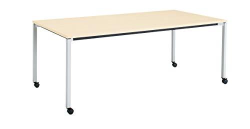コクヨ ミーティングテーブル JUTO MT-JTK211S81M10-CN 角形天板 4本脚 角脚 スクエアコーナー 幅210×奥行100cm 天板ホワイトナチュラル脚フラットシルバー キャスター付