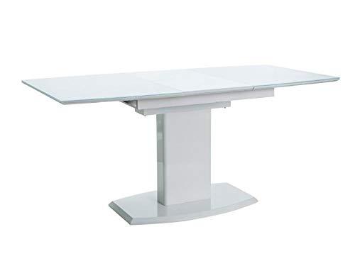 Mesa blanca extensible para el comedor
