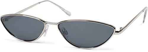 styleBREAKER gafas de sol de mujer de ojos de gato con montura estrecha de metal, lentes planas de policarbonato, «look retro», estilo de ojos de gato 09020097, color:Marco plata/vidrio gris tintado